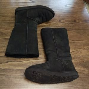 Shoes - Women's Sheepskin Black Suede Classic Tall Boots 7